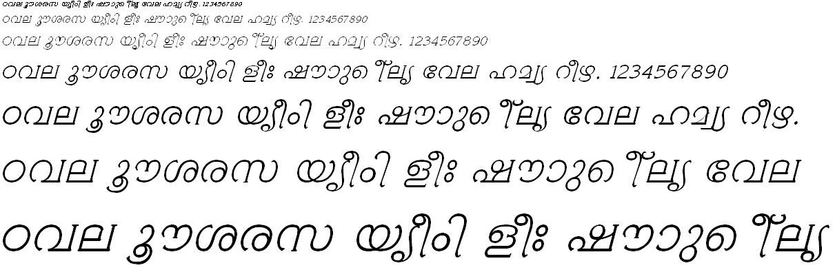ML_TT_Ambili Italic Malayalam Font