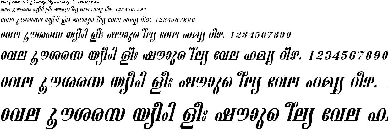 ML_TT_Ashtamudi Italic Malayalam Font