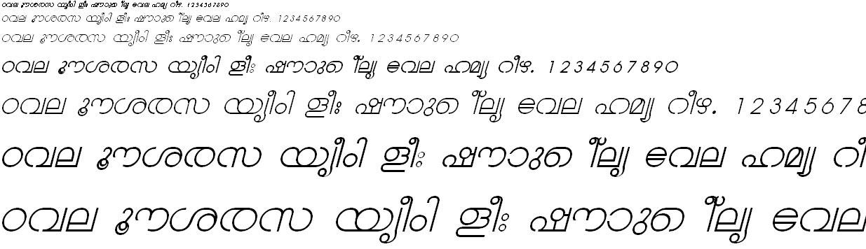 ML_TT_Chandrika Italic Malayalam Font