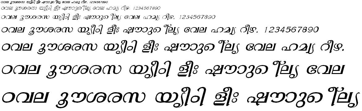 ML_TT_Gopika Italic Malayalam Font