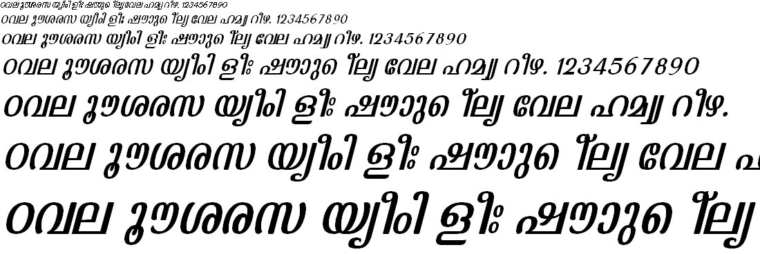 ML_TT_Kaumudi Italic Malayalam Font