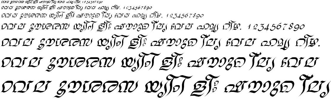 ML_TT_Nalini Italic Malayalam Font