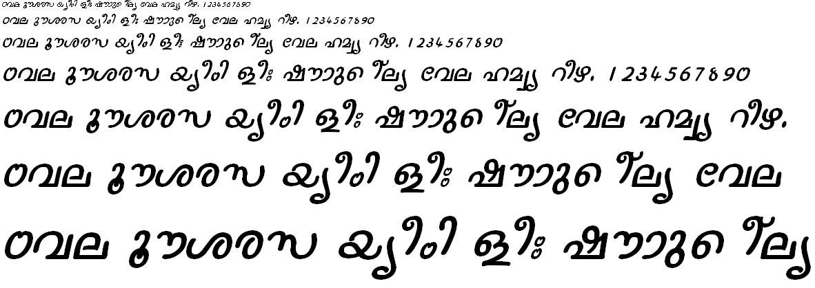 ML_TT_Nanditha Italic Malayalam Font