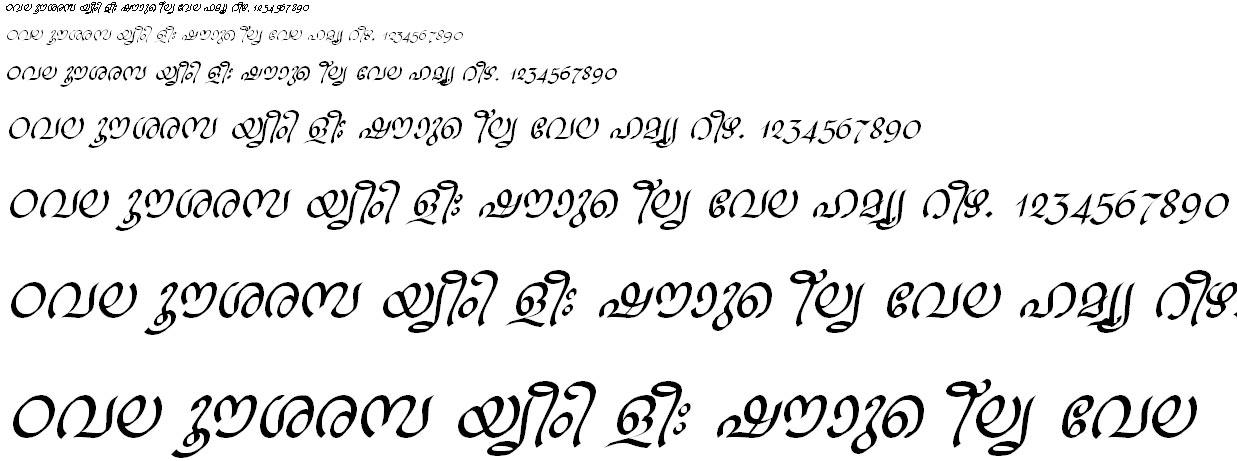 ML_TT_Ravivarma Italic Malayalam Font