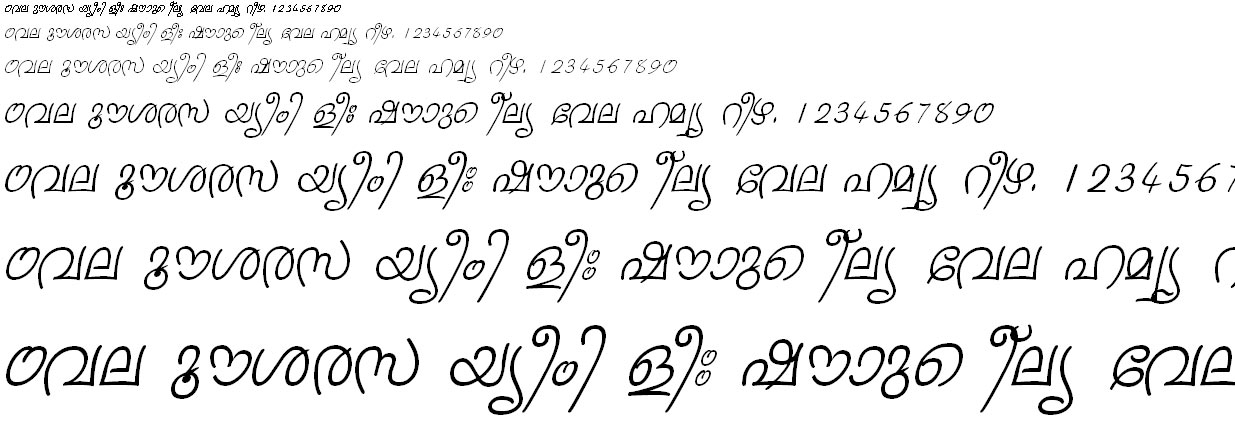ML_TT_Sruthy Italic Malayalam Font