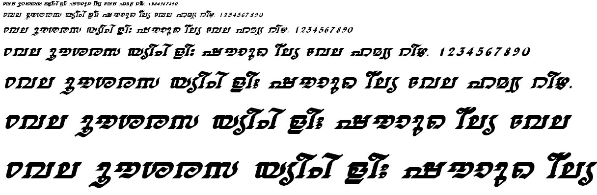 ML_TT_Thiruvathira Bold Italic Malayalam Font