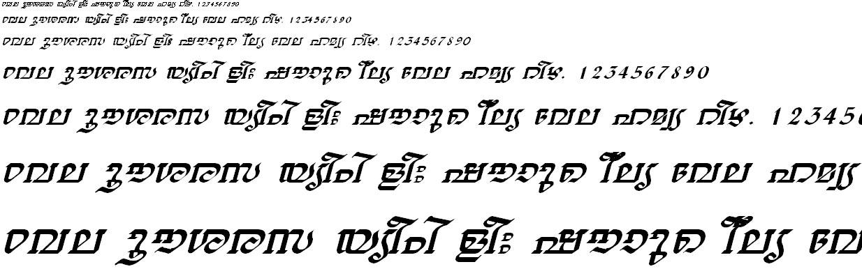 ML_TT_Thiruvathira Italic Malayalam Font