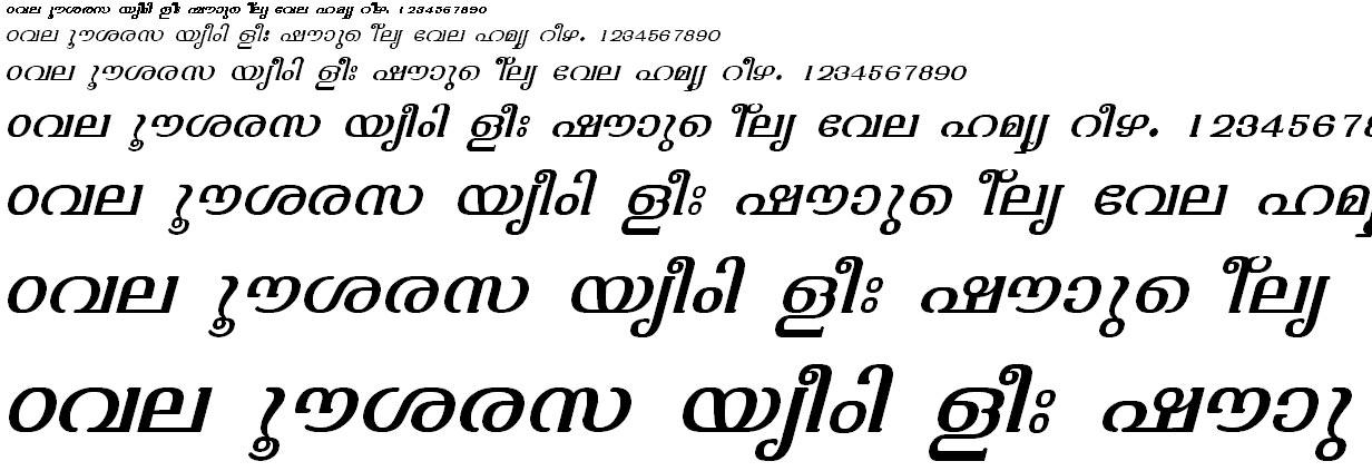 ML_TT_Varsha Italic Malayalam Font