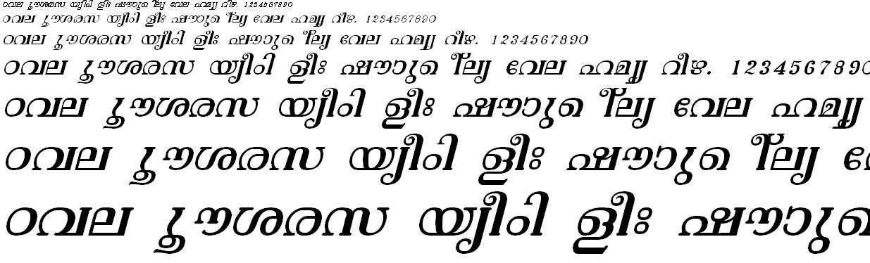 ML_TT_Vishu Italic Malayalam Font