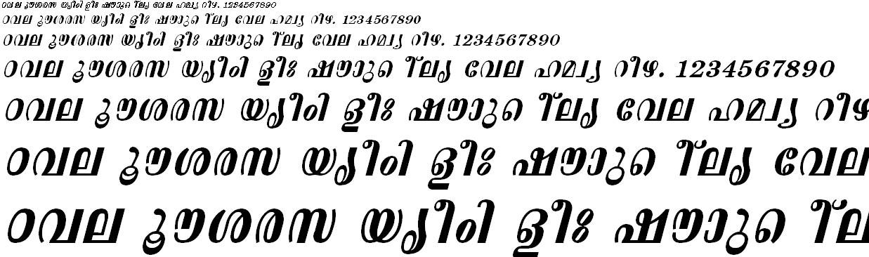 FML-TT-Aswathi Bold Italic Malayalam Font