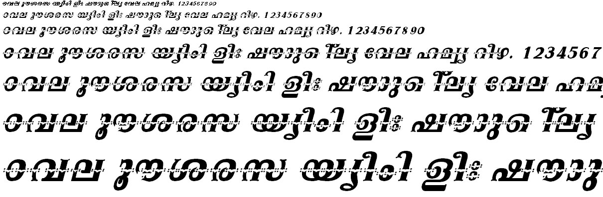 FML-TT-Swathy Bold Italic Malayalam Font